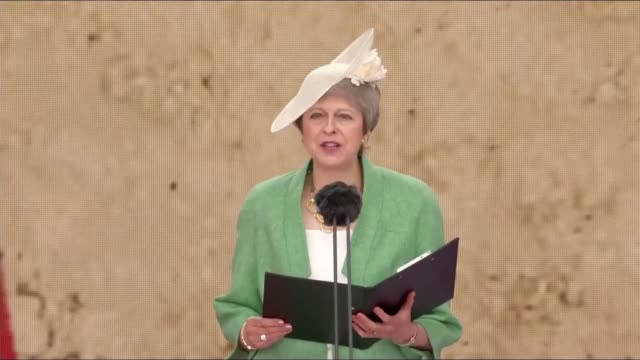 queen and world leaders commemorate dday landings england portsmouth ext theresa may mp speech sot my thoughts at this moment in this lovely saturday... - afternoon tea stock videos & royalty-free footage