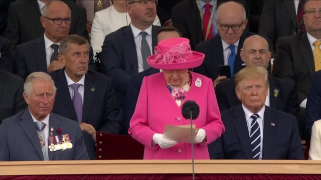 queen and world leaders commemorate dday landings england portsmouth ext queen elizabeth speech sot that is exactly what those brave men brought to... - präsident der usa stock-videos und b-roll-filmmaterial