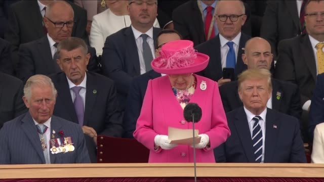 Queen Elizabeth II speech ENGLAND Hampshire Portsmouth EXT Queen Elizabeth II stood for speech with world leaders behind including Emmanuel Macron...