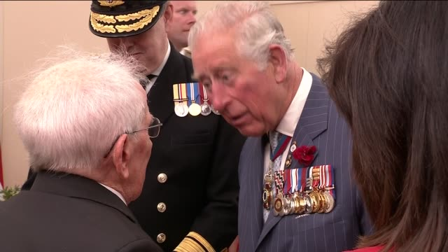 Queen Prince Charles and Donald Trump meet veterans ENGLAND Hampshire Portsmouth INT Various of Queen Elizabeth II Prince Charles Donald Trump and...