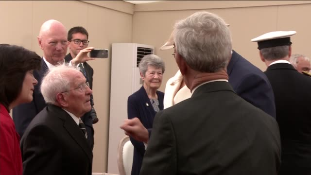 Queen Prince Charles and Donald Trump meet veterans ENGLAND Hampshire Portsmouth Various of Queen Elizabeth II Prince Charles Donald Trump and...