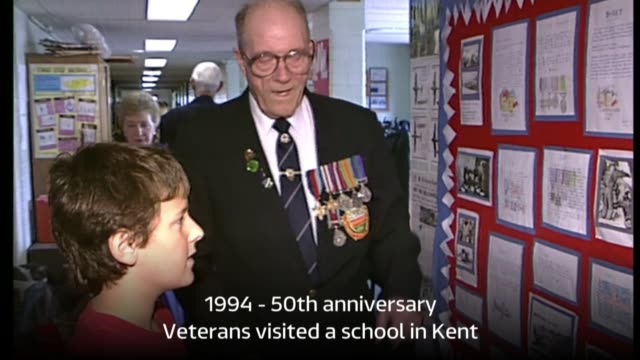 retrospective lib / tx england kent intermitently*** **music overlaid sot** various shots of veterans looking at school projects and speaking with... - d day stock videos and b-roll footage
