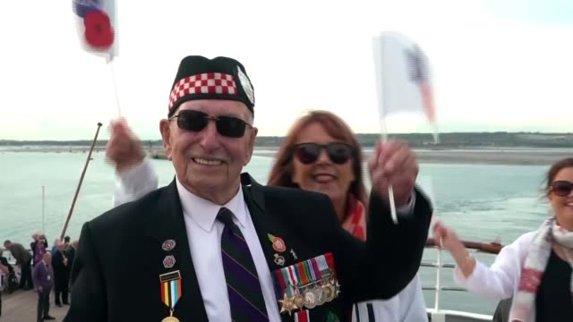 Veterans and world leaders attend services in Normandy THE Various shots British WWII veterans on ferry taken journey across Channel to Le Havre