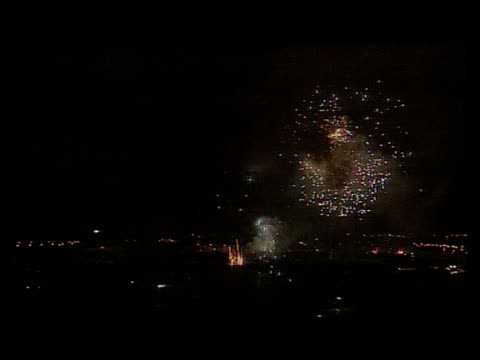 aftermath france normandy seq fireworks going off - d day stock-videos und b-roll-filmmaterial