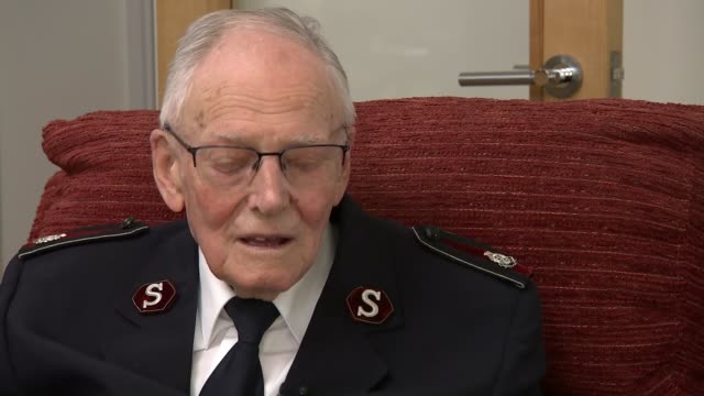 veteran harry read interview england dorset bournemouth int harry read interview sot - d day stock videos and b-roll footage