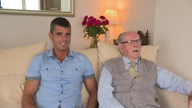 dday veteran skydives to celebrate 101st birthday int verdun hayes interview sot - アロマンシェス点の映像素材/bロール
