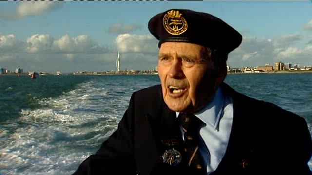 dday victims honoured in special memorial service at sea at sea the solent paul butler chatting with itn reporter paul butler interview sot has... - アロマンシェス点の映像素材/bロール