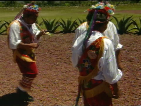 de los voladores : indigenous totonac men in colorful traditional costumes moving around rope wrapped pole to flute music played by fifth member of... - pre columbian stock videos & royalty-free footage
