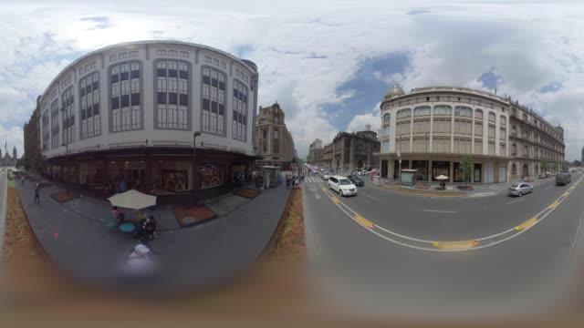 20 de noviembre avenue in mexico city downtown in 360 vr - 360 grad panorama stock-videos und b-roll-filmmaterial