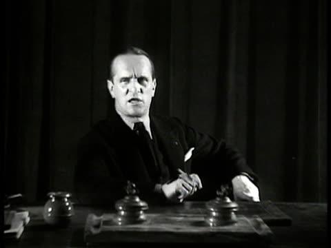 de rocque: croix-de-feu leader colonel francois de la rocque seated at desk. - 1934 stock videos & royalty-free footage