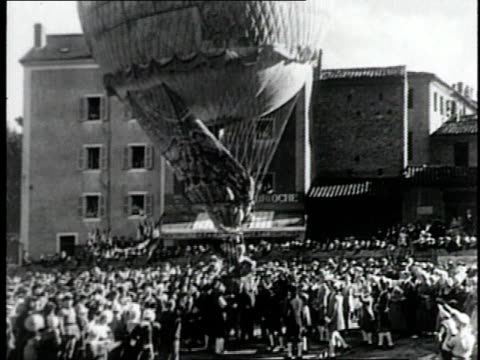 REENACTMENT de Rozier's flight in a Montgolfier balloon in 18th century / France