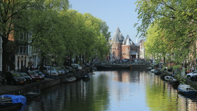 De Waag building on Kloveniersburgwal canal, Amsterdam, Netherlands, Europe