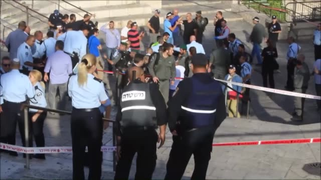 dead body of a palestinian man lies on the floor after he allegedly attempted stabbing and he was shot dead by israeli police near damascus gate one... - east jerusalem stock videos & royalty-free footage