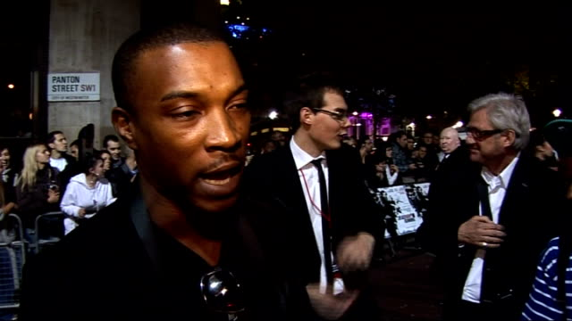 'Dead Man Running' film premiere red carpet arrivals Ashley Walters interview SOT On working alongside 50 Cent again how you can't get hold of him as...