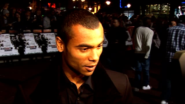 'Dead Man Running' film premiere red carpet arrivals General views Ashley Cole speaking to reporter Ashley Cole speaking to reporters and interview...