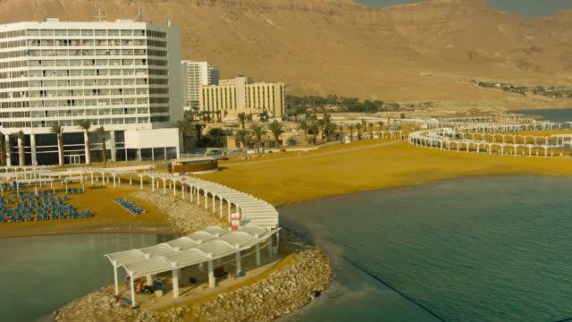 vidéos et rushes de dead sea hotels  aerial shot - établissement de cure
