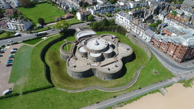 deal castle kent track left oblique 4k aerial video - castle stock videos & royalty-free footage
