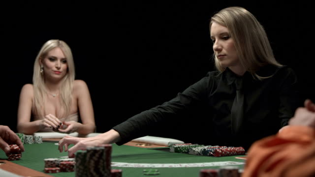 hd dolly: dealer spreading cards on a table - gambling chip stock videos and b-roll footage