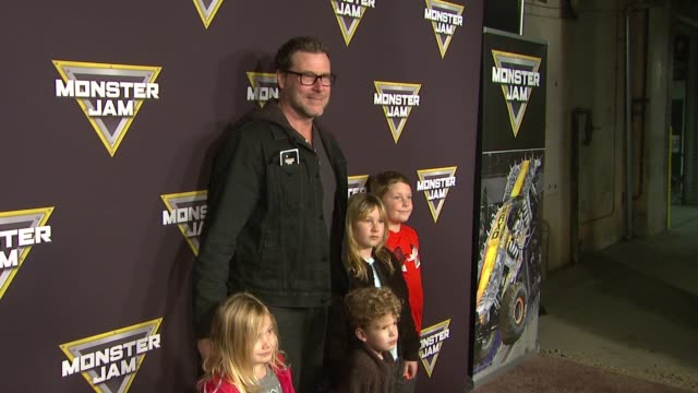 Dean McDermott Liam McDermott Finn Davey McDermott Stella Doreen McDermott and Hattie Margaret McDermott at Monster Jam Celebrity Night at Angel...