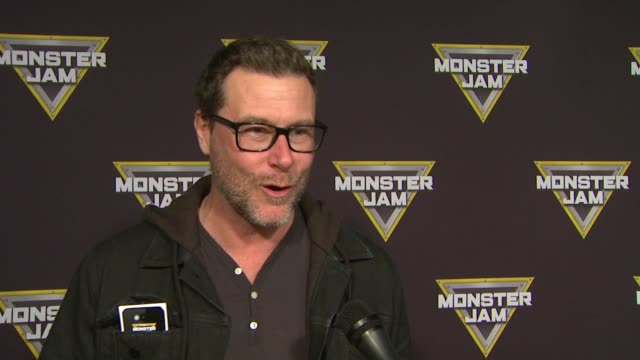 INTERVIEW Dean McDermott on bringing his family out how he's excited and his love for racing at Monster Jam Celebrity Night at Angel Stadium of...