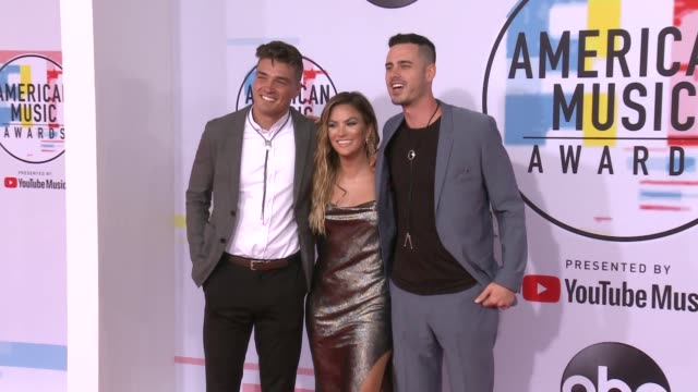 Dean Michael Unglert Becca Tilley and Ben Higgins at the 2018 American Music Awards at Microsoft Theater on October 09 2018 in Los Angeles California