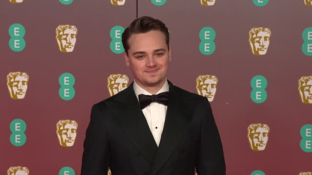 dean-charles chapman, star of 1917, on red carpet at bafta film awards 2020 - 1917 stock videos & royalty-free footage