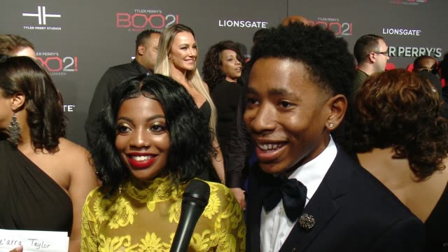 """INTERVIEW De'arra Taylor Ken Walker on the premiere at Lionsgate Presents the Los Angeles Premiere of Tyler Perry's """"Boo 2 A Madea Halloween"""" in Los..."""