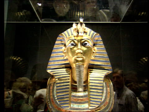death; mummy scans show no evidence for murder theory; file england: london: british museum: int cms tutankhamun's golden death mask mss mask on... - british museum stock videos & royalty-free footage