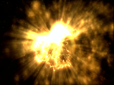 Death of star: beams of light followed by violent explosion and fragments of rock hurtling into distant space