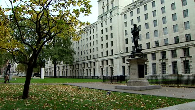 deaths of army medic and royal marine / friendly fire ruled out file / date unknown london ministry of defence building union flag flying on flagpole - union army stock videos & royalty-free footage