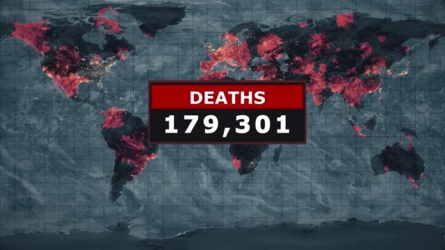 deaths virus graphic, novel coronavirus ncov spreading all over the world, worldwide flu epidemic spreads every continent, global deadly viral infection, satellite view of influenza virus affected areas. stock video - death stock videos & royalty-free footage