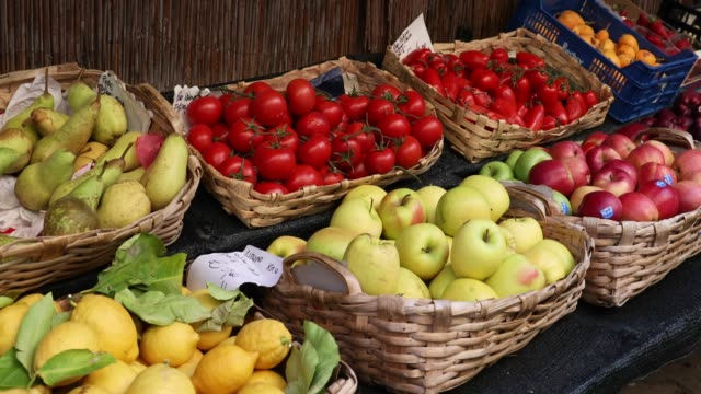 Deatil of fruits and vegetables for sale at outdoor stand