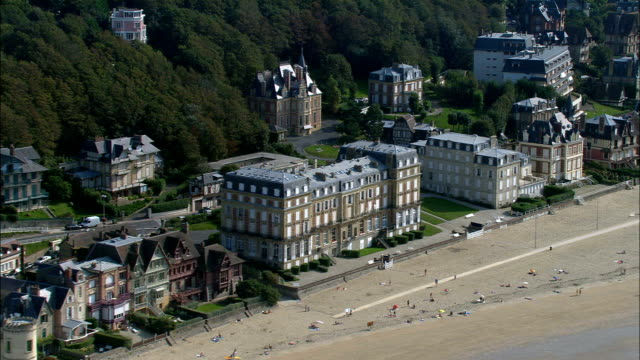 deauville  - aerial view - lower normandy, calvados, arrondissement de lisieux, france - normandy stock videos and b-roll footage