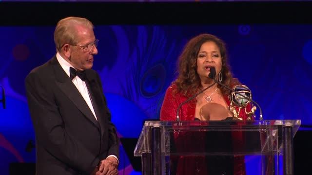debbie allen gets award at the the alfred mann foundation's annual black-tie gala at santa monica ca. - debbie allen stock videos & royalty-free footage