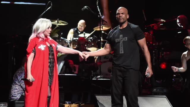 debbie harry and dmc perform onstage during the rainforest fund 30th anniversary benefit concert presents 'we'll be together again' at beacon theatre... - darryl mcdaniels stock videos & royalty-free footage