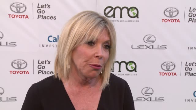 debbie levin on celebrating another ema award, talks about this years honorees and how we all can support the environment on a daily basis at the... - environmental media awards stock videos & royalty-free footage