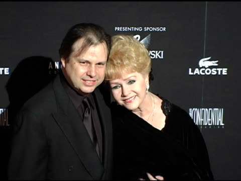 debbie reynolds and son todd fisher at the 7th annual costume designers guild awards gala at the beverly hilton in beverly hills, california on... - debbie reynolds stock-videos und b-roll-filmmaterial