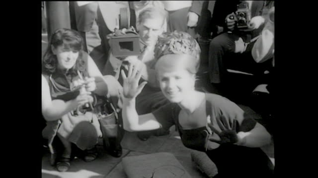 debbie reynolds footprints ceremony january 14, 1965 - debbie reynolds stock-videos und b-roll-filmmaterial