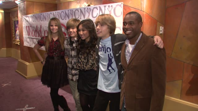 debby ryan cole sprouse brenda song dylan sprouse and phill lewis at the cast of the suite life on deck at world of disney in new york at new york ny - brenda song stock videos & royalty-free footage