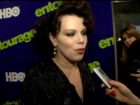debi mazar on doug ellin's process the convenience of shooting in la and motherhood at the 'entourage' third season new york premiere at skirball... - performing arts center stock videos & royalty-free footage