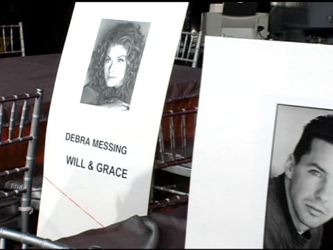 debra messing and sean hayes's seat cards at the 2005 screen actors guild sag awards rehearsals at the shrine auditorium in los angeles california on... - debra messing stock-videos und b-roll-filmmaterial