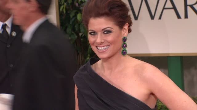 debra messing at 69th annual golden globe awards arrivals on january 15 2012 in beverly hills california - debra messing stock videos and b-roll footage