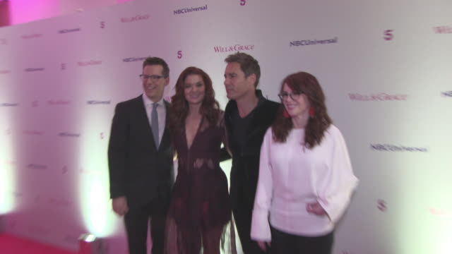 debra messing eric mccormack megan mullally sean hayes at 'will grace' screening at bafta on february 08 2018 in london england - megan mullally stock videos and b-roll footage