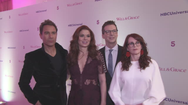 vídeos de stock, filmes e b-roll de debra messing eric mccormack megan mullally sean hayes talk about previous episodes plans for the future of the show and puzzle art at 'will grace'... - megan mullally