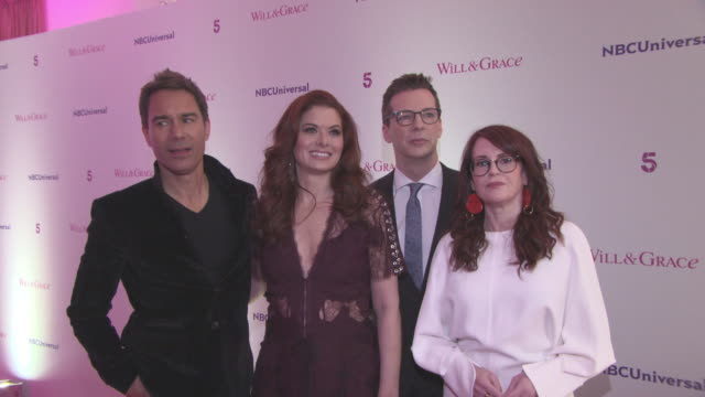 vídeos de stock, filmes e b-roll de interview debra messing eric mccormack megan mullally sean hayes talk about previous episodes plans for the future of the show and puzzle art at... - megan mullally