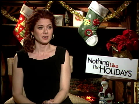 debra messing on the different ideas of what it mean tot be a woman in the film at the 'nothing like the holidays' junket at los angeles ca - debra messing stock-videos und b-roll-filmmaterial