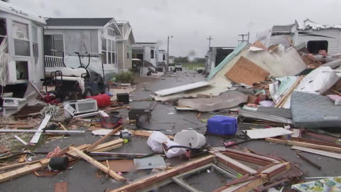 debris and destroyed homes in the aftermath of hurricane dorian at a trailer park in emerald isle, north carolina. - 2010 2019 stock videos & royalty-free footage