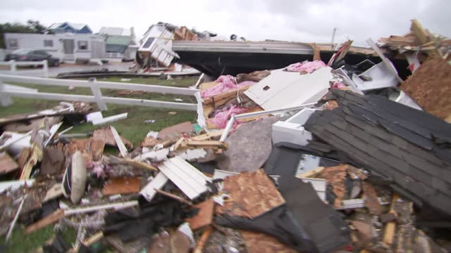 debris at a trailer park in emerald isle, north carolina in the aftermath of hurricane dorian. - 2010 2019 stock videos & royalty-free footage