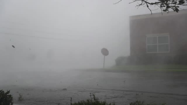 vídeos y material grabado en eventos de stock de debris is blown down a street by hurricane michael on october 10, 2018 in panama city, florida. the hurricane made landfall on the florida panhandle... - huracán