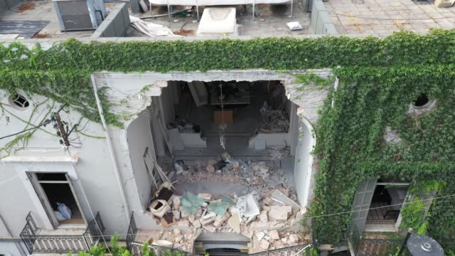 debris lies in the foyer of a residential building on august 12, 2020 in beirut, lebanon. the explosion at beirut's port last week killed over 200... - house stock videos & royalty-free footage